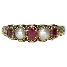 Mid Victorian Ruby Pearl Ring 18k Gold