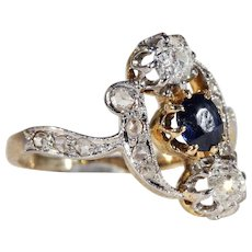 Antique Art Nouveau Sapphire and Diamond Ring, 18k Gold and Platinum c. 1900, *VIDEO*
