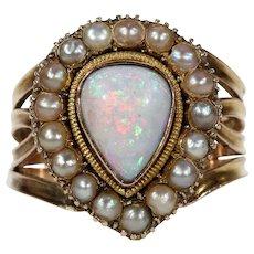 Georgian Opal Pearl Ring in 15k Gold