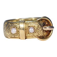 Edwardian Engraved Gold Pearl Buckle Ring Band