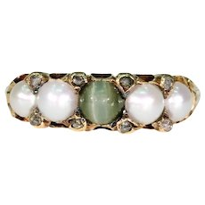 Antique Pearl Cat's Eye Chrysoberyl Ring 18k Gold
