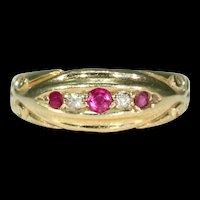 Victorian 5 Stone Ruby Diamond Ring 18k Gold