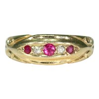 Victorian 5 Stone Ruby Diamond Ring 18k Gold