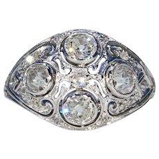 Vintage Art Deco Diamond Dome Ring in Platinum