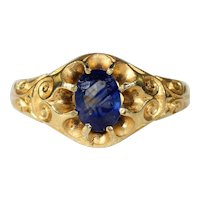 Antique Victorian Blue Sapphire Solitaire Ring in 18k Gold