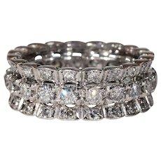 Fancy Vintage Three Row Diamond Eternity Band Ring