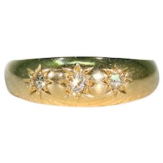 Edwardian 18k Gold 3 Diamond Stacking Band Ring Wedding