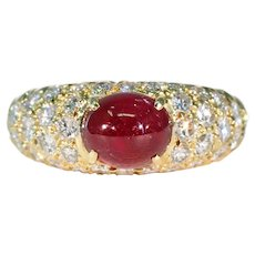 Stunning Vintage Cabochon Ruby and Diamond Ring in 18k Gold