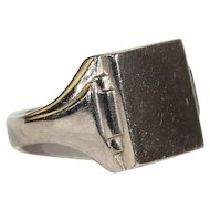 Vintage French Art Deco Silver Signet Ring, c. 1920