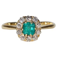 Antique Victorian Emerald Diamond Halo Cluster Ring