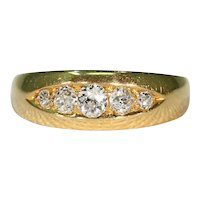 Antique Edwardian 5 Stone Diamond Ring 18K Gold