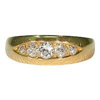 Antique Edwardian 5 Stone Diamond Ring 18K Gold