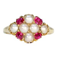 Mid-Victorian Pearl and Ruby Cluster Ring in 18k Gold c. 1870