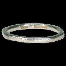 Vintage Octagonal Wedding Band Ring Platinum Size 5.25