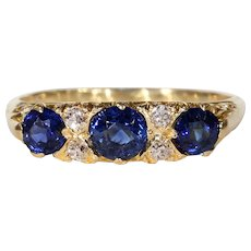 Antique Edwardian 7 Stone Sapphire Diamond Ring