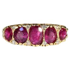 Antique Victorian 5 Stone Ruby and Diamond Ring in 18k Gold - Natural Rubies