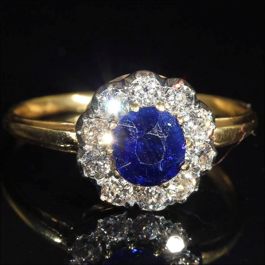 Antique Victorian Sapphire And Diamond Cluster Ring With