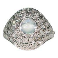 Edwardian Moonstone Diamond Platinum Ring Dome