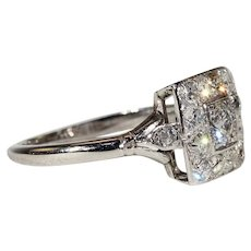 Vintage Art Deco Diamond Engagement Ring, Square Halo Ring in Platinum