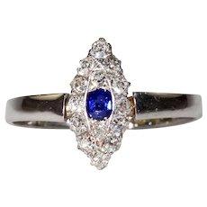 Edwardian Sapphire Diamond Ring Navette Cluster