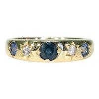 Antique Sapphire Diamond Gypsy Set Edwardian Ring 18k Gold