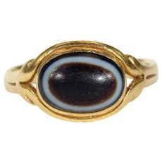 Georgian Banded Agate Gold Memorial Ring 18 karat