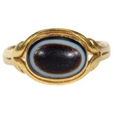 Georgian Banded Agate Gold Memorial Ring 18 karat