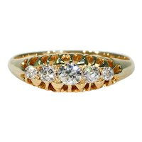 Antique Victorian 5 Stone Diamond Ring 18k Gold