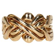 Edwardian Six Band Puzzle Ring in 18k Gold