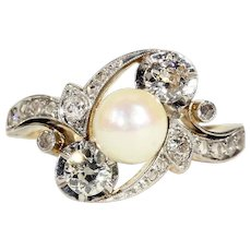 Art Nouveau Diamond Pearl Bypass Ring