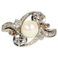 Art Nouveau Diamond Pearl Bypass Ring