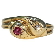Victorian Double Snake Ring Diamond Ruby Heads 18k Gold