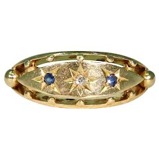 Three Stone Gypsy Set Sapphire Diamond Ring 18K, Hallmarked