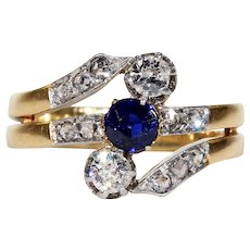 Antique French Toi et Moi Sapphire Diamond Ring Bypass