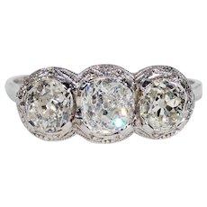 Art Deco 3 Stone Diamond Engagement Ring