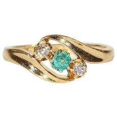 Edwardian Diamond Emerald Gold Bypass Ring