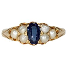 Victorian Pearl Sapphire Ring 18k Gold