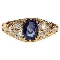 Antique Victorian Sapphire and Diamond Ring in 18k Gold, Engagement