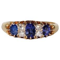 Edwardian Sapphire Diamond Gold Ring