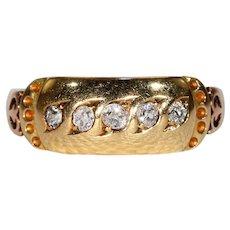 Antique 5 Stone Diamond Ring Wedding Band