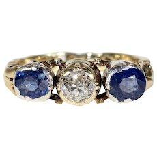 Austro-Hungarian Sapphire Diamond Ring 14k Gold Silver