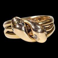 Mens Victorian Double Snake Ring Diamond Garnet Eyes Dated 1870