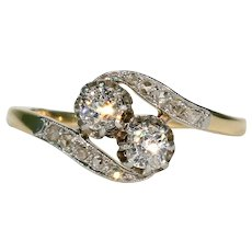 French Bypass Toi et Moi Diamond Engagement Ring