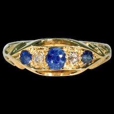 Five Stone Sapphire Diamond Ring 18K, Birmingham 1911
