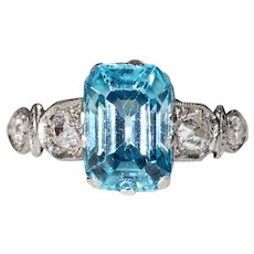Art Deco Diamond Blue Zircon Platinum Ring