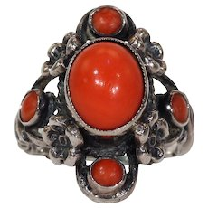 Vintage Austro-Hungarian Silver Red Coral Ring Floral Motif