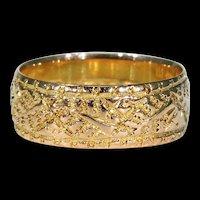 Victorian Wedding Band Ring Ferns 9k Gold