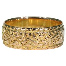 Victorian Wedding Band Ring Ferns 9k Gold