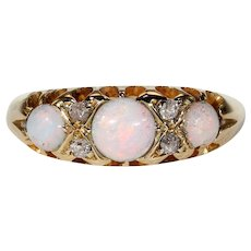 Antique Victorian Opal Diamond Ring Band Hallmarked 1899