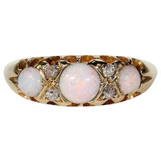 Antique Victorian Opal Diamond Ring Band Hallmarked 1899